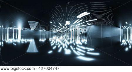 Futuristic 360 Full Degree Panorama View Of Futuristic Dark Hall Industrial Design 3d Render Illustr