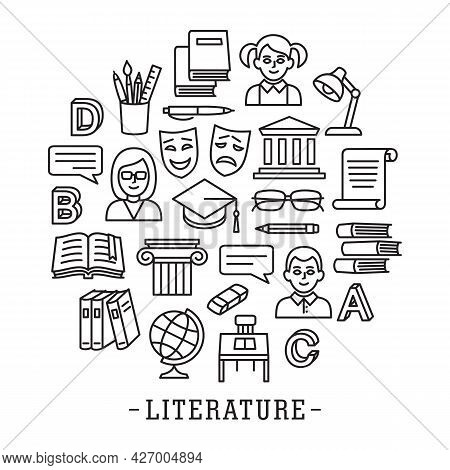 Literature School Education Icon Set In Line Style Circle Tamplete. Logo, Pictogram, Design Infograp