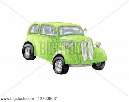 Light Green Watercolor Car. Green Fancy Car. Car Design For Boys. Watercolor Drawing. Hand Draw Llus