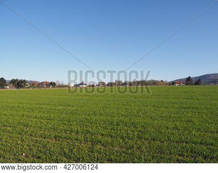 Great Silesian Beskid Mountains Range In European Bielsko-biala City In Poland, Clear Blue Sky In 20