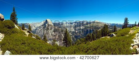 Panoramic of Half Dome on a cloudless day