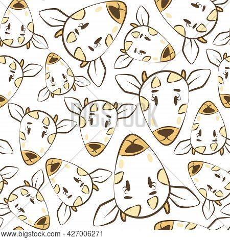 Cool Bright Yellow Seamless Pattern With The Muzzles Of A Cow Or Goat. Wallpapers With Farm Animals.