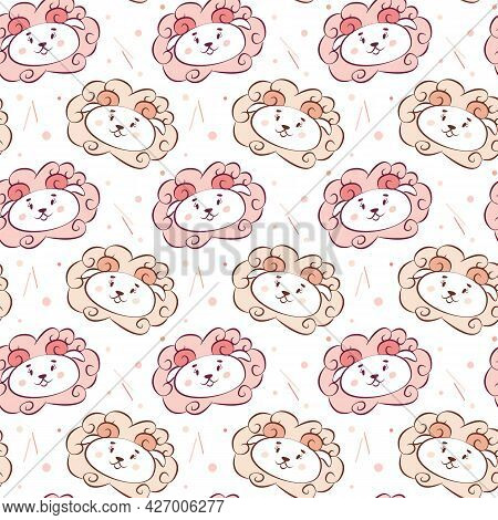 Cute Animalistic Seamless Pattern For Nursery Design. Funny Muzzles Of Sheep In Baby Doodle Style. C
