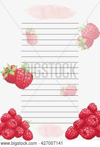 Cookbook Page Template. The Page Is Lined Up. Watercolor Recipe Page With Raspberries Decor. Page Fo