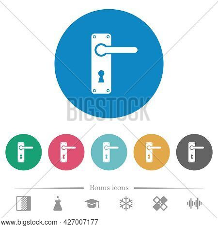 Right Handed Door Handle With Screws Flat White Icons On Round Color Backgrounds. 6 Bonus Icons Incl