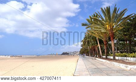 The Huge Beach And The Promenade With Palm Trees And Tropical Greenery In Morro Jable, Fuerteventura