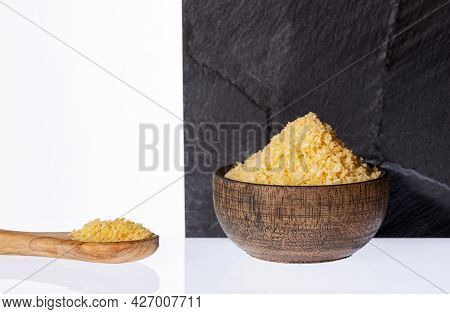 Panko Japanese Bread In Crumbs In The Wooden Bowl