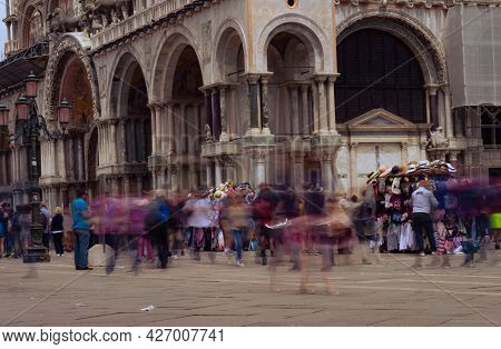 Venice Italy. May 15, 2018. Tourists Stroll In San Marcos Square In The Italian City Of Venice.