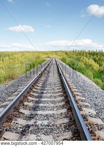 Old Rails In Landscape. Rails Ina The Land.