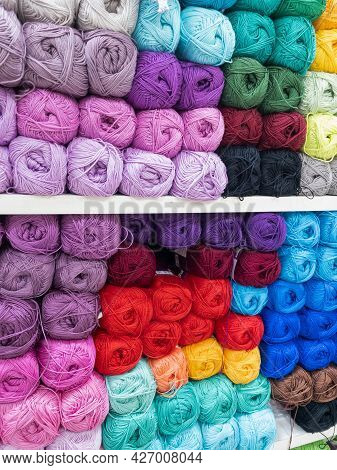 Skeins Of Multicolored Thread For Needlework Close-up. Background Image, Sewing, Embroidery, Handmad