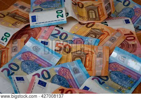 European Banknotes Of 50, 20 And 10 Euros European Currency