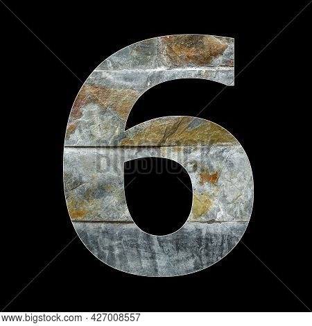 Number 6 - Six Digit On Rustic Stone Background