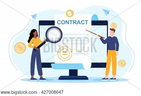 Signing Of A Business Contract Concept. A Man And A Woman Are Standing Next To A Large Monitor And S