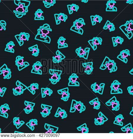 Line Hunter Icon Isolated Seamless Pattern On Black Background. Vector