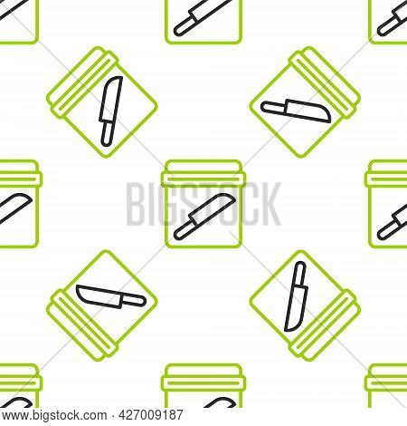 Line Evidence Bag With Knife Icon Isolated Seamless Pattern On White Background. Vector