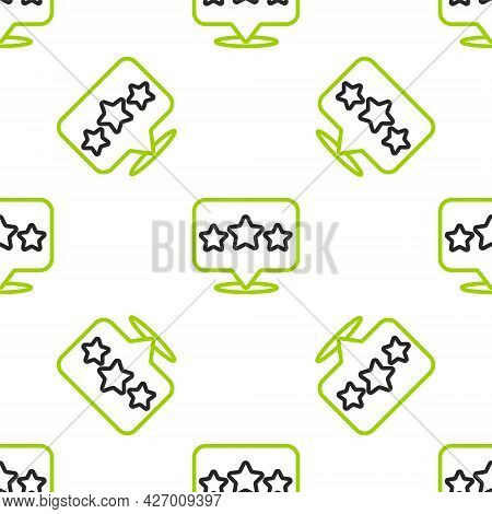Line Five Stars Customer Product Rating Review Icon Isolated Seamless Pattern On White Background. F