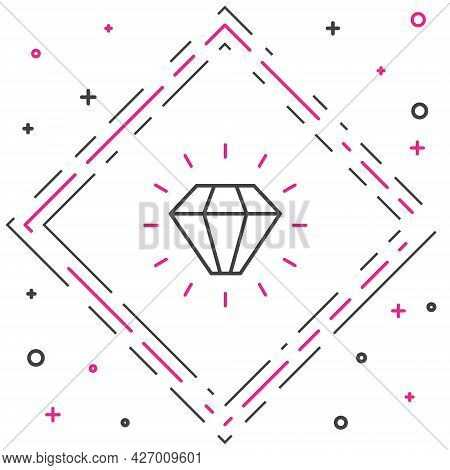 Line Diamond Icon Isolated On White Background. Jewelry Symbol. Gem Stone. Colorful Outline Concept.