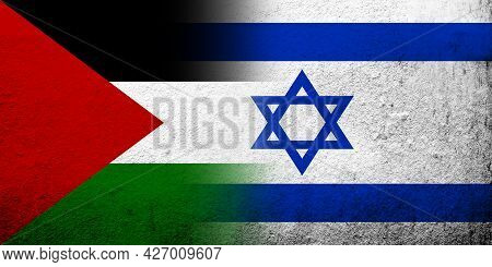 Flag Of Palestine With Israel National Flag. Grunge Background