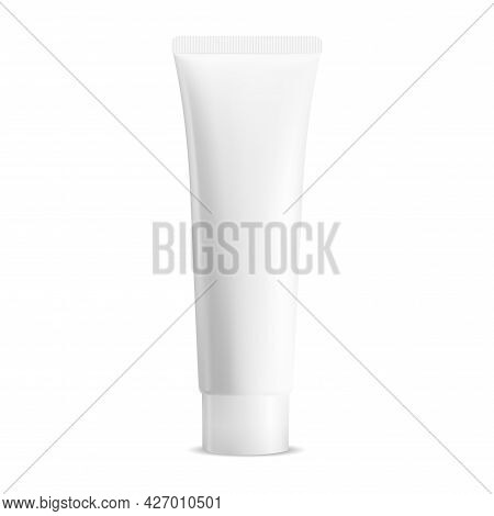 White Cream Tube. Thoothpaste Package Mockup Blank. Cosmetic Tube For Gel Or Lotion. Realistic Facia