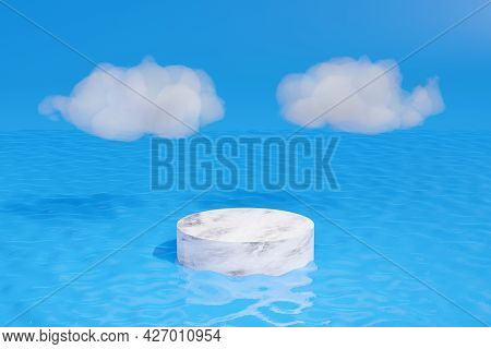 Marble Pedestal On Water With White Clouds. 3d Illustration.