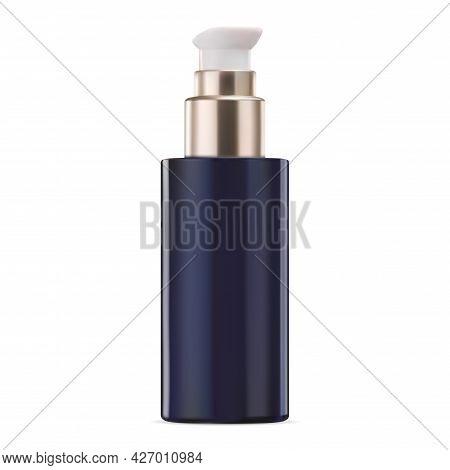 Cosmetic Product Dispenser Bottle. Serum Essence Jar With Gold Pump. Body Milk Packaging Design, Liq