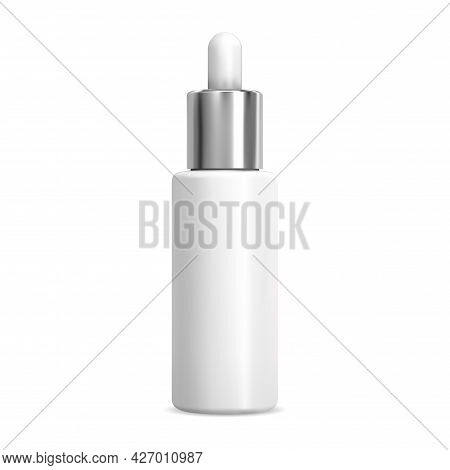 Serum Dropper Cosmetic Bottle, White Pipette Flask Mockup, Isolated 3d Vector Container. Natural Ess