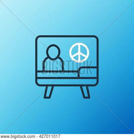 Line Peace Icon Isolated On Blue Background. Hippie Symbol Of Peace. Colorful Outline Concept. Vecto