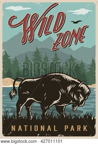 National Park Vintage Colorful Poster With Big Bison On Lake Forest And Mountains Landscape Vector I