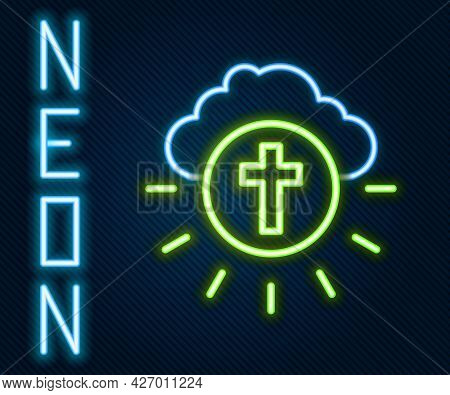 Glowing Neon Line Religious Cross In The Circle Icon Isolated On Black Background. Love Of God, Cath