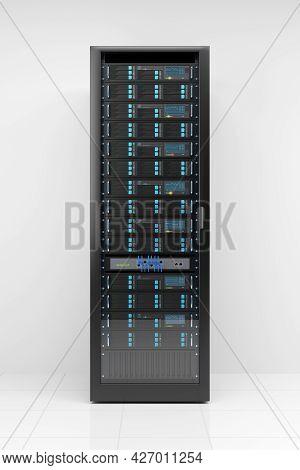 Computer Server Rack On White Background. 3d Illustration.