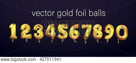 Golden Number Balloons. Foil And Latex Balloons. Helium Ballons. Party, Birthday, Celebrate Annivers