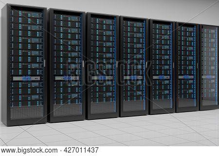 Computer Server Room. Internet Concepr. 3d Illustration.