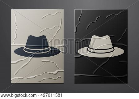 White Western Cowboy Hat Icon Isolated On Crumpled Paper Background. Paper Art Style. Vector