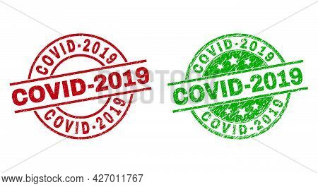 Round Covid-2019 Stamp Badges. Flat Vector Textured Seals With Covid-2019 Text Inside Circle And Lin