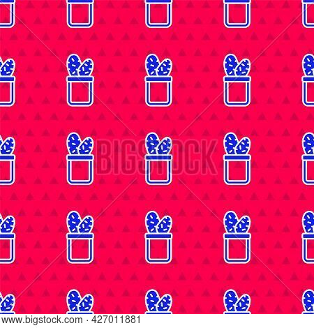 Blue Cactus Peyote In Pot Icon Isolated Seamless Pattern On Red Background. Plant Growing In A Pot.