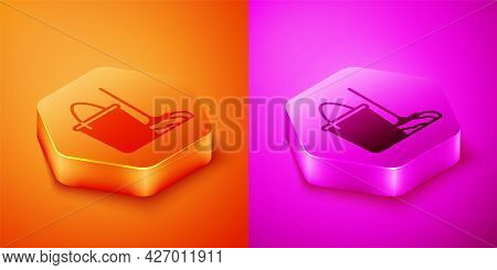 Isometric Mop And Bucket Icon Isolated On Orange And Pink Background. Cleaning Service Concept. Hexa