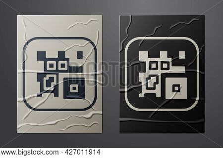 White Qr Code Sample For Smartphone Scanning Icon Isolated On Crumpled Paper Background. Paper Art S