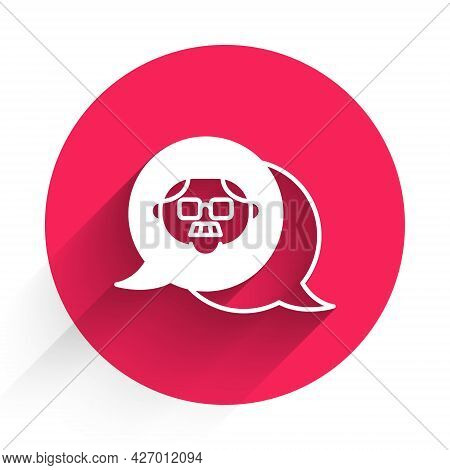 White Grandfather Icon Isolated With Long Shadow. Red Circle Button. Vector
