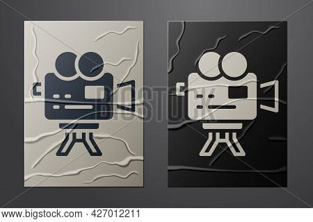 White Retro Cinema Camera Icon Isolated On Crumpled Paper Background. Video Camera. Movie Sign. Film