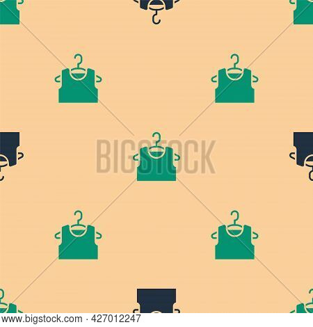 Green And Black Sleeveless T-shirt Icon Isolated Seamless Pattern On Beige Background. Vector