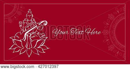 Saraswati, Hindu Goddess Of Knowledge, Sitting On Lotus Flower And Playing Veena, Silhouette Sketchy