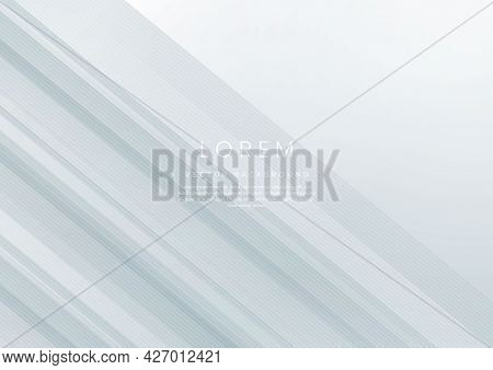 Abstract White And Grey Geometric Diagonal Overlay Layer Background. You Can Use For Ad, Poster, Tem