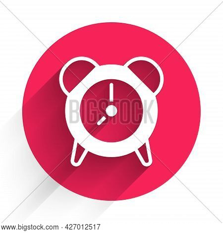 White Alarm Clock Icon Isolated With Long Shadow. Wake Up, Get Up Concept. Time Sign. Red Circle But