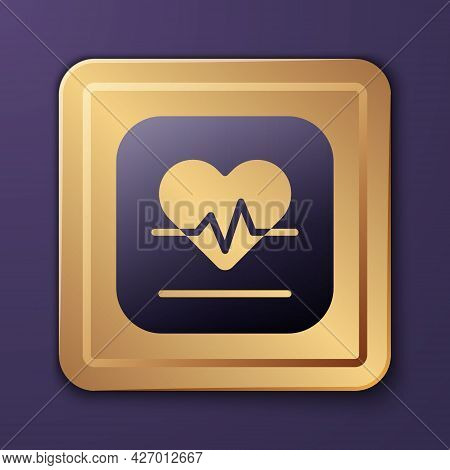 Purple Heart Rate Icon Isolated On Purple Background. Heartbeat Sign. Heart Pulse Icon. Cardiogram I