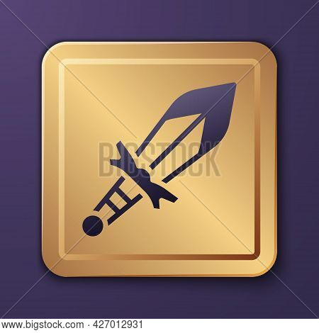 Purple Medieval Sword Icon Isolated On Purple Background. Medieval Weapon. Gold Square Button. Vecto