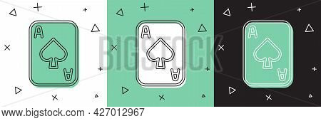 Set Playing Cards Icon Isolated On White And Green, Black Background. Casino Gambling. Vector