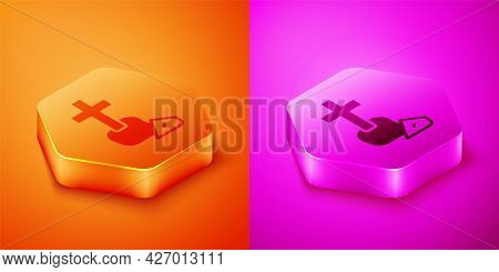 Isometric Christian Cross Icon Isolated On Orange And Pink Background. Church Cross. Hexagon Button.