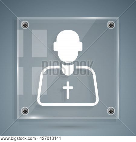 White Priest Icon Isolated On Grey Background. Square Glass Panels. Vector