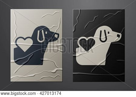 White Heart With Dog Icon Isolated On Crumpled Paper Background. Pet Paw In Heart. Love To The Anima