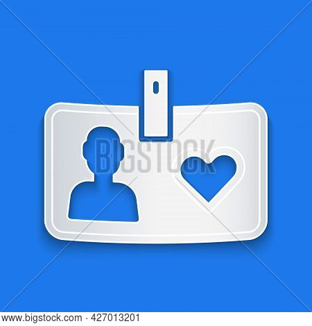 Paper Cut Identification Card Volunteer Icon Isolated On Blue Background. Volunteer Id Card Or Badge